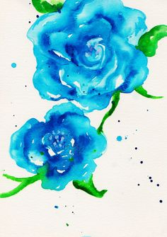 Blue Roses 8x10 Print of Original Watercolor Illustration by Talula Christian