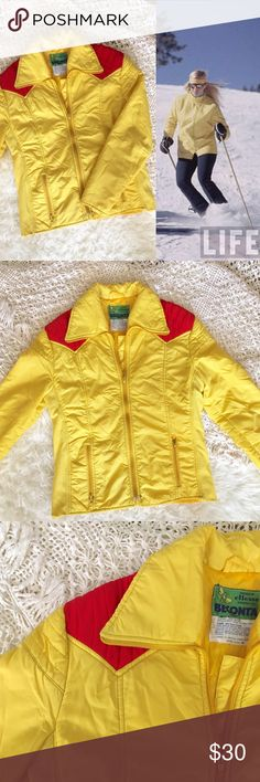 70s / Ellesse Yellow Ski Jacket Sunshine yellow puffer jacket with red padded shoulders. In fair condition, paint chipping on zippers, a few small blemishes and stopper on center zipper is missing. Safety pin in place to keep zipper from sliding off.  BRAND: Ellesse for Beconta MATERIAL: nylon/poly YEAR/ERA: 70s LABEL SIZE: M BEST FIT: M/L  MEASUREMENTS: Chest 22 inches Length 27.5 inches  🚫 I do not model or trade, sorry! 💟 Check out my closet for more vintage!     0003 Vintage Jackets…