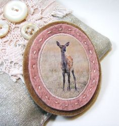 felt bambi brooch in blush pink and camel by redstitchlab on Etsy, €18.00