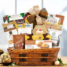 Gourmet Gift Baskets - Corporate Basket Kitchen Gift Baskets, Gourmet Gift Baskets, Teacher Appreciation Gifts, Teacher Gifts, Wicker Hamper, Caramel Corn, Mixed Nuts, Thanksgiving Gifts, How To Make Bows