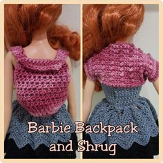 """Learn how to crochet a Barbie Backpack and Berry-Stitched Shrug. The accessories are also the right size for other 10-12"""" fashion dolls."""