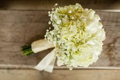 White Hydrangeas and Baby's Breath Wedding Bouquet