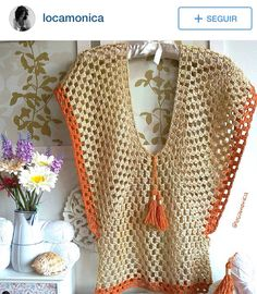 Diy Crafts - crochelinhasagulhas,crochet-crochelinhasagulhas: Crochet skirt, brown shawl and vest brown crochelinhasagulhas crochet shawl skirt Crochet Poncho Patterns, Crochet Shawls And Wraps, Crochet Cardigan, Crochet Woman, Crochet Lace, Crochet Clothes, Creations, Pullover, Couture