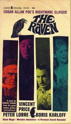1962 The Raven movie poster Sci Fi Horror Movies, Classic Horror Movies, Scary Movies, Old Movies, Vintage Movies, Horror Art, Vintage Books, Old Movie Posters, Retro Posters