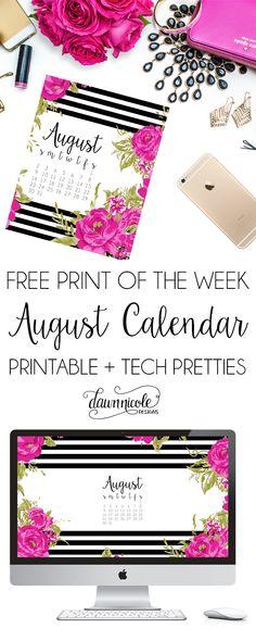 Free Print of the Week: August Calendar Print + Desktop Wallpaper   dawnnicoledesigns.com
