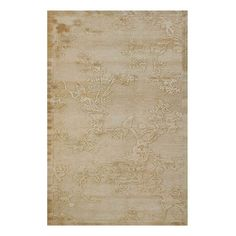 Faux silk rug with an ivory floral motif.     Product: RugConstruction Material: Faux silkColor: Ivory...