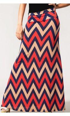 Bolded chevron print maxi skirt for women