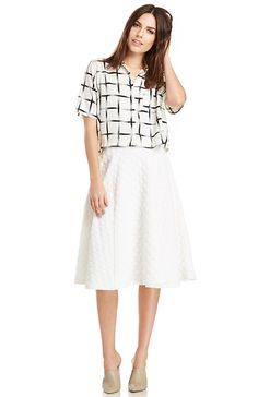 J.O.A. Dotted Jacquard Skirt in Ivory XS - M | DAILYLOOK