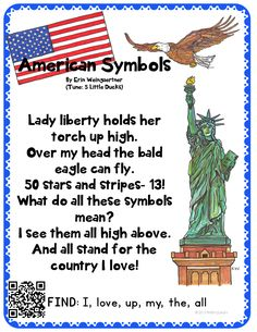 American Symbols, Statue of Liberty, Bald Eagle, American Flag poem! Perfect for students! Check out this and 3 more free original poems! Preschool Social Studies, Preschool Activities, History Activities, English Activities, Shared Reading, Free Reading, American Symbols, American Flag, American History