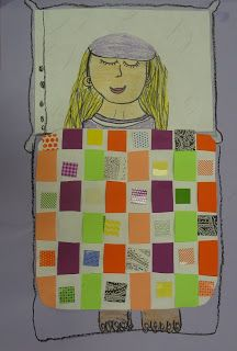First grade weaving with portraits - so cute!