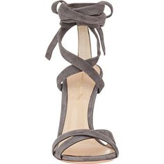 Gianvito Rossi Women's Lucite® Heel Ankle-Tie Sandals Size 9 (17 520 ZAR) ❤ liked on Polyvore featuring shoes, sandals, heels, open toe sandals, ankle strap high heel sandals, lucite heel sandals, grey heel sandals and open toe shoes