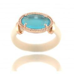 Sortija con caucho y piedra azul facetada en plta/oro rosa/ Rubber ring with blue oval stone with bevel in silver/pink gold