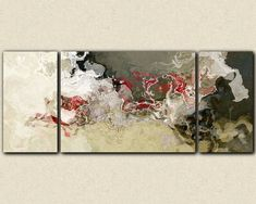 Abstract expressionism triptych canvas print beige gray and red #contemporaryarchitecture