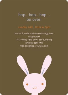 hip hop bunny hop easter party invitation | paper cultuer