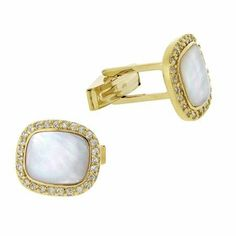 18k Gold Over Sterling Silver Mother of Pearl & CZ Men's Cufflinks SilverSpeck. $49.99. Save 38%!