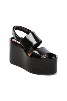 Jeffrey Campbell Carnie Wedge Sandal in Black Box | REVOLVE