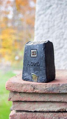 LOVE Handmade Black Raku fired Ceramic houses with copper and