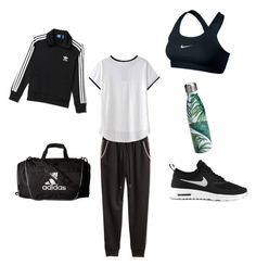 """""""Workout / School sporty outfit"""" by malina-dobrescu ❤ liked on Polyvore featuring H&M, adidas, NIKE and S'well"""
