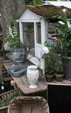 potting shed and table