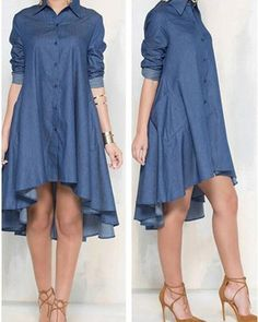 Long Sleeve Dip Hem Denim Shirt Dress Women's Online Shopping Offering Huge Discounts on Dresses, Lingerie , Jumpsuits , Swimwear, Tops and More. Denim Shirt Dress, Long Sleeve Shirt Dress, Trend Fashion, Fashion Outfits, Womens Fashion, Quinceanera Dresses, Homecoming Dresses, Mode Abaya, Online Dress Shopping