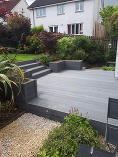 SAiGE decking in grey supplied by Woodford Timber - Victoria Decking Back Gardens, Outdoor Gardens, Small Garden Decking Ideas, Garden Ideas, Decking Area, Decking Boards, Garden Bed Layout, Composite Decking, Victoria
