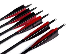 """Best-selling Black Archery 31"""" Carbon Fiber Hunting/Targeting Arrows Fletching 5"""" Black & Red Peltate Shape True Feathers With Replacement Screw-in Field Points (6 Pack)"""