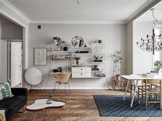 Living room workspace with String shelves