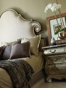 Elegant- LOVE the colors and the side table... in the process of making my fabric headboard- but I think I could silverleaf a side table...