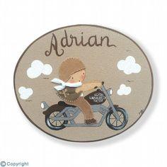 Placa infantil de puerta-Niño motorista-(mod.1105).