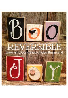 REVERSIBLE Boo and Joy MINI blocks with cute baby Jesus Christmas halloween Holiday Wood block set Family home decor