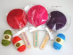 Here's a sweet gift for your yarn loving friends: Yarn Lollipops! Lion Brand Bon Bon Yarn works great for this project because the small skeins wrap perfectly around a cardboard circle. This allows you to gift a specific amount of yarn. Need ideas on what to make with Bon Bon Yarn? I have lots of …