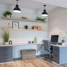 Basement Office, Home Office Setup, Home Office Organization, Home Office Space, Home Office Design, Office Designs, Modern Office Decor, Ikea Office Hack, Kids Office