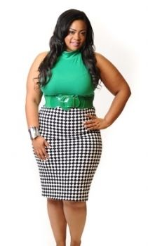 New Plus Size Black and White Checkerboard Pencil Skirt 1x 2x 3x $22.10