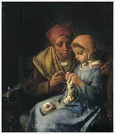 Jean-Francois Millet (French, 1814-1875) Knitting Lesson 1869