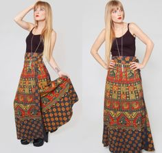 Vintage ETHNIC Wrap Skirt Indian Cotton Hippie Maxi Skirt by LotusvintageNY