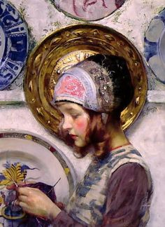 "Incredible detail on the plates...♥...James Jebusa Shannon ""The Purple Stocking"""