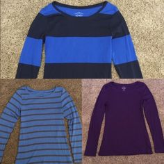 Bundle: 3 Old Navy purple & blue long sleeved tees Bundle of 3 Old Navy long sleeve tees in medium. One block stripe bright blue & navy. One light blue with thin gray stripes. One solid purple. Worn once or twice. Excellent used condition with no flaws. Soft and comfy. Good for layering, with fall weather coming soon. Questions? Let me know! Old Navy Tops Tees - Long Sleeve
