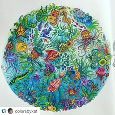 Wow!!!! By @colorsbykat  #Repost @colorsbykat with @repostapp. ・・・ Had such fun coloring this page. Used Crayola and Prismacolor pencils. There's a very special fish in there. Can you spot him? #lostocean #johanabasford