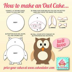 How To Make an Owl Cake. This is the cake design I'll be going with for my daughter's birthday. Owl Cake Birthday, Owl Birthday Parties, Birthday Ideas, Owl Parties, 4th Birthday, Cake Decorating Tips, Cookie Decorating, Owl Cakes, Ladybug Cakes