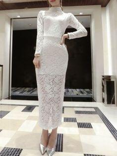 Lace Stand Collar Slits Long Dress _Long Sleeve Dress_DRESSES_Wholesale…