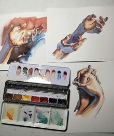 Hands watercolour - A Level Art Sketchbook - Kunst Inspo, Art Inspo, A Level Art Sketchbook, Sketchbook Ideas, Sketch Painting, Painting Art, Body Painting, Paintings, Wow Art