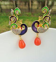 Peacock Meenakari Earrings Peacock Earrings Indian by Alankaar, $45.00