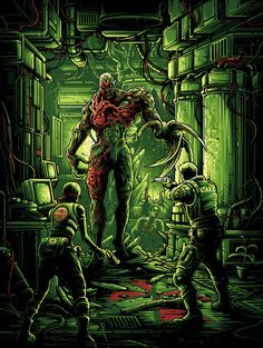 Galleries Nineteen Eighty Eight Inspired by Resident Evil, this print from Dan Mumford is perfect. You can pick it up now,. Tyrant Resident Evil, Resident Evil Game, Posters Geek, Dan Mumford, Evil Games, Evil Art, Jill Valentine, Pokemon, Kino Film