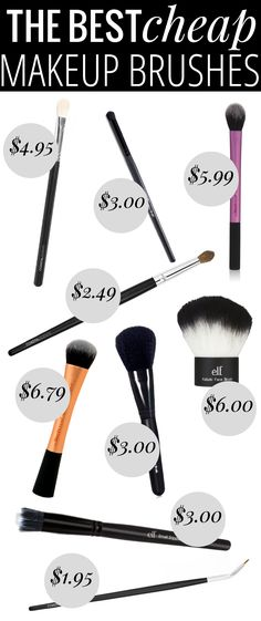 The Best Cheap Makeup Brushes - every brush you'll need, all for under $10 (and most under $5)! #makeup #makeupbrushes #makeupbargains #cosmetics