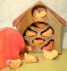 Waldorf Inspired Kids Wooden Rooster and Hens Play Toy Set