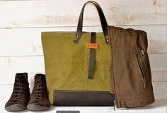 LUXURY Unisex Tote bag STONEWASH CANVAS / Purse / Shopping tote / Leather straps and bottom