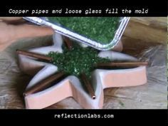 how to make fused and slumped recycled glass - alocasia lamp - YouTube