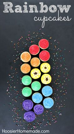 Rainbow Cupcakes :: Instructions on HoosierHomemade.com