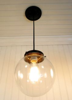 Biddeford. Clear Globe PENDANT Light. $89.00, via Etsy.