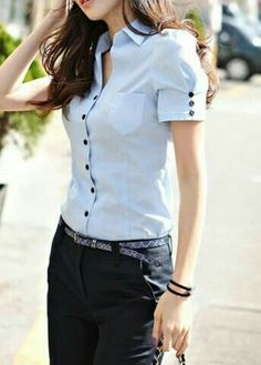 """Looks formales con blusas estilo camisera """"Cheap blouse sheer, Buy Quality blouse women directly from China blouse manufacturers Suppliers: 2015 Kurti Sleeves Design, Sleeves Designs For Dresses, Cute Blouses, Shirt Blouses, Diy Fashion, Fashion Outfits, Womens Fashion, Latest Fashion, Crochet Bodycon Dresses"""